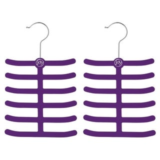 Joy Mangano Huggable Hangers 2pk Tie/Belt Purple