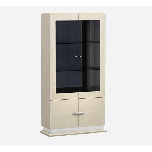 Shop J M Chiara Vitrine Beige Wood Glass Curio Cabinet Free