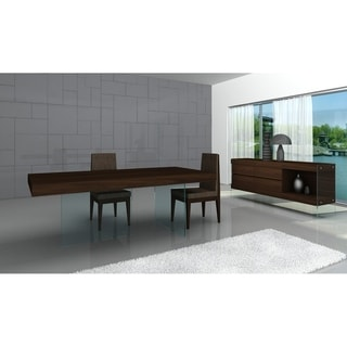 CE Float Wenge Chocolate Wood Glass Buffet Table