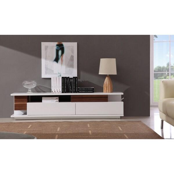 W Tv061 White Gloss Walnut Wood Media Cabinet