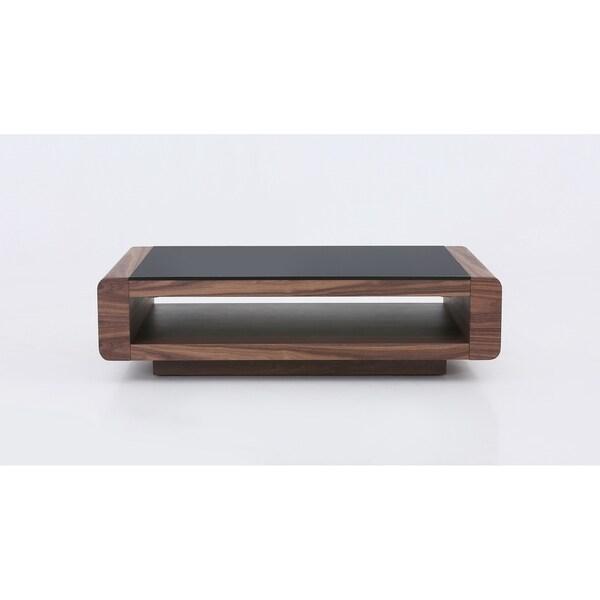 Lp Tudor Walnut Wood Veneer Black Tempered Gl Coffee Table
