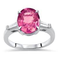 Noori 10 x 7 mm Pink Oval Sapphire Tapered Baguette Diamond Engagement Ring 14k White Gold