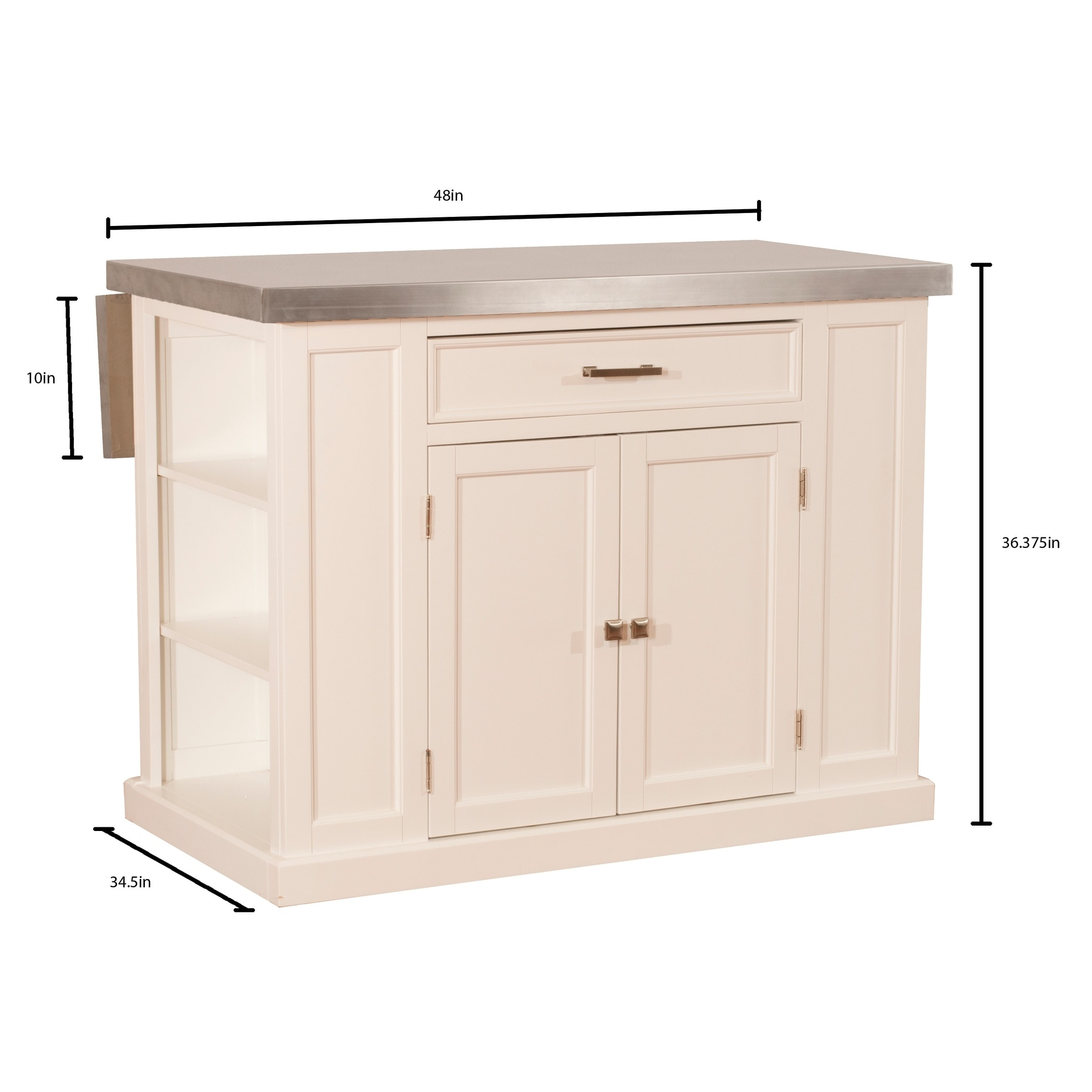 Flemington Kitchen Island In White With Stainless Steel Top By Hilale Furniture