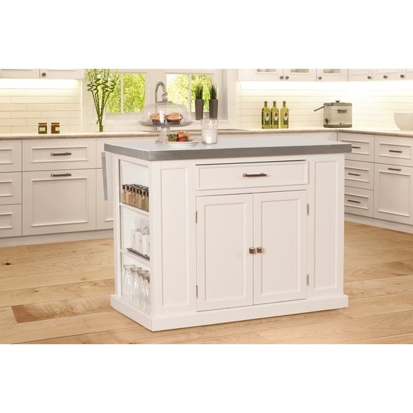 white kitchen island with stainless steel top shop flemington kitchen island in white with stainless steel top by hillsdale furniture 9940