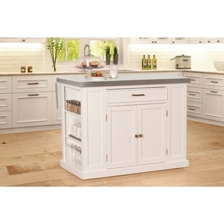 Flemington Kitchen Island in White with Stainless Steel Top by Hillsdale Furniture