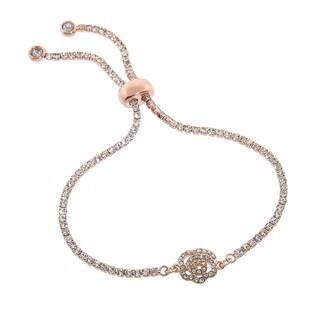 Eternally Haute 14k Rose Gold plated Crystal Rose Bud Tennis Bracelet; w Adjustable slider