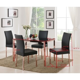 Rose Copper Metal Frame, Black Faux Leather Kitchen & Dining Side Chairs (Set Of Four)