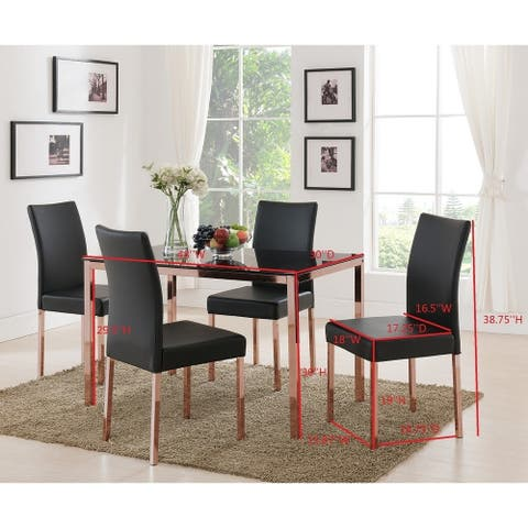 Rose Copper Metal Frame, Black Faux Leather Kitchen & Dining Side Chairs (Set of Four).