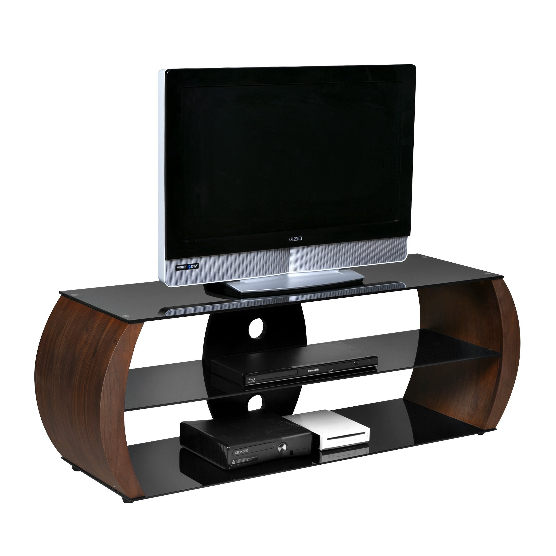 Onespace Oval Walnut Veneer Wood Black Tempered Glass Tv Stand