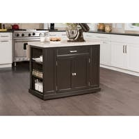 Hillsdale Flemington Kitchen Island in Black with Granite Top