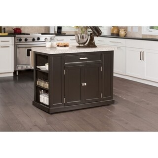 Flemington Kitchen Island in Black with Granite Finish Wood Top by Hillsdale Furniture