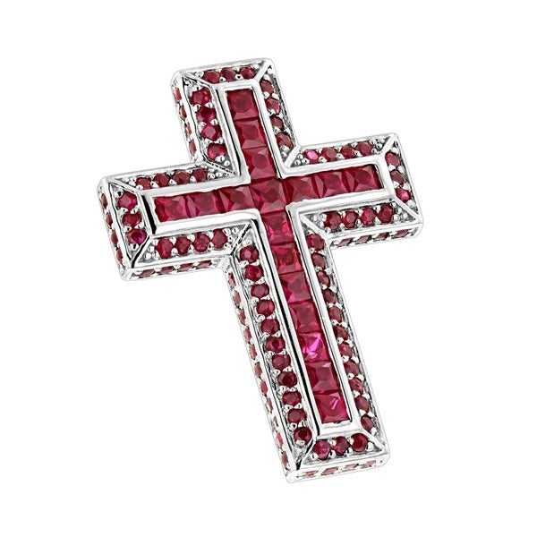 1dd17fd501674 Shop Ruby Cross Pendant Round Princess Cut 14K Gold for Women & 18 ...