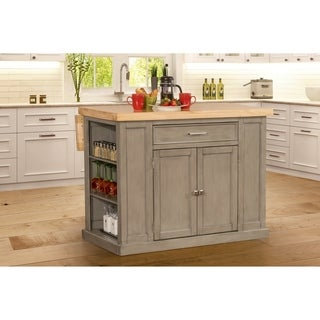 Hillsdale Flemington Kitchen Island in Gray with Wood Top