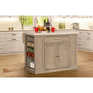 Hillsdale Flemington Kitchen Island in Gray with Granite Top