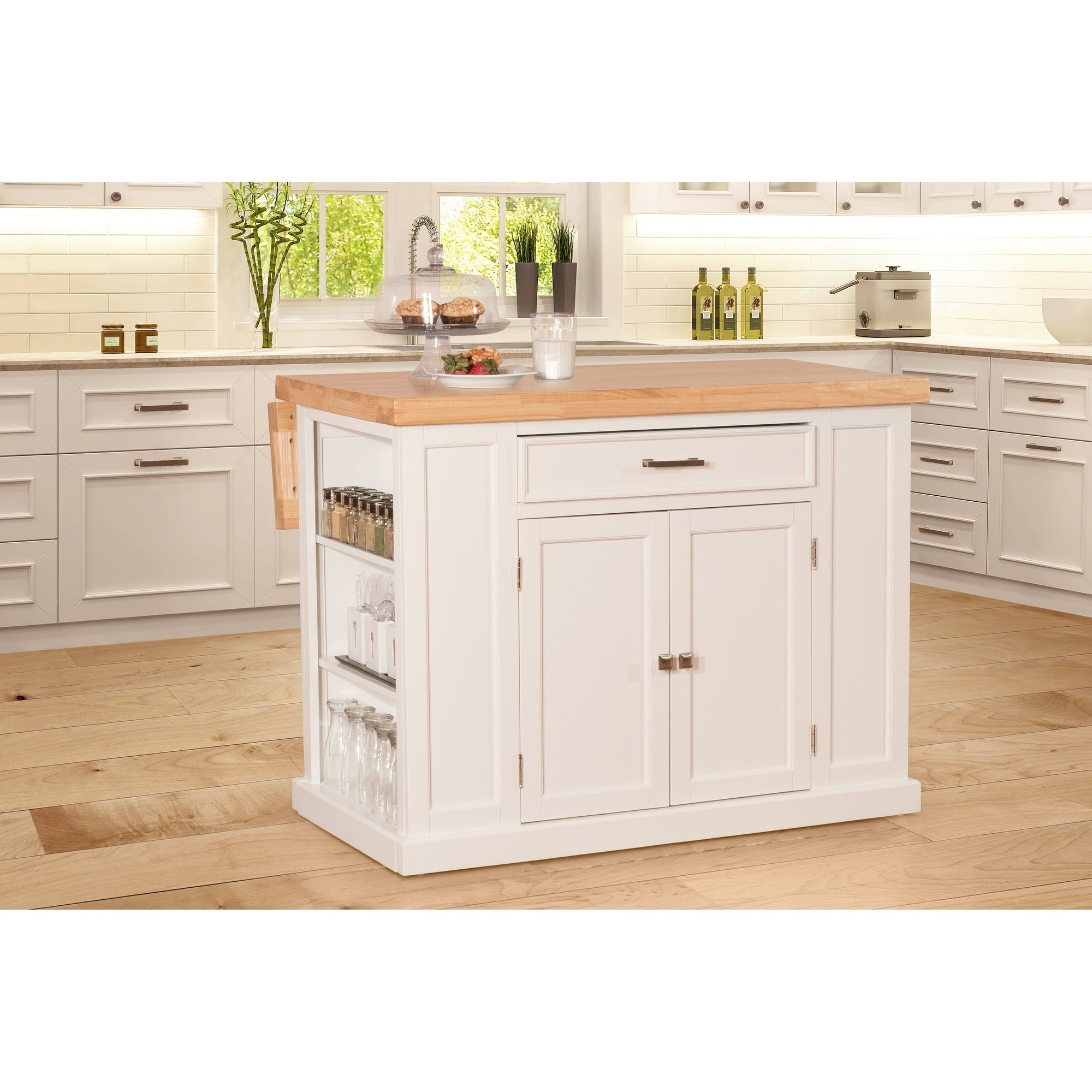 Flemington Kitchen Island In White With Wood Top By Hilale Furniture