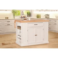 Hillsdale Flemington Kitchen Island in White with Wood Top