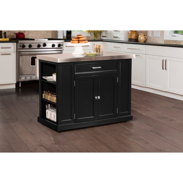 Kitchen Island With Stainless Steel Top: Shop Hillsdale Flemington Kitchen Island In Black With