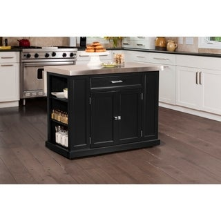 Hillsdale Flemington Kitchen Island in Black with Stainless Steel Top