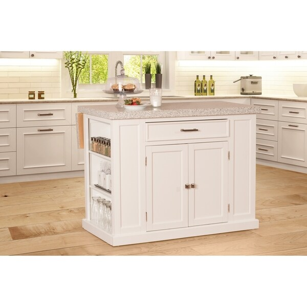 hillsdale flemington kitchen island in white with granite top - Granite Top Kitchen Island