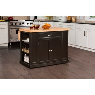 Hillsdale Flemington Kitchen Island in Black with Wood Top