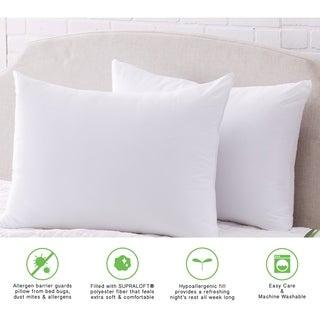 Springs Home Allergen Barrier Hypoallergenic Bed Pillow