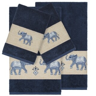 Authentic Hotel and Spa Turkish Cotton Elephants Embroidered Midnight Blue 4-piece Towel Set