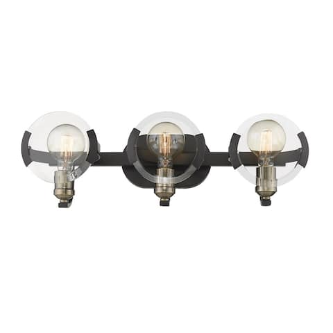 Amari 3 Light Bath Vanity in Black with Aged Brass Accents