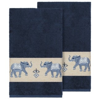 Authentic Hotel and Spa Turkish Cotton Elephants Embroidered Midnight Blue 2-piece Bath Towel Set