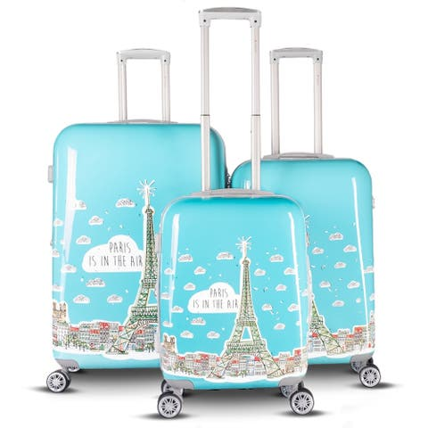 Gabbiano Paris Collection 3 Piece Expandable Hardside Spinner Luggage Set