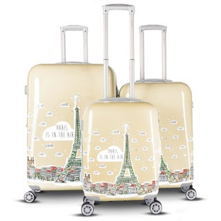 Gabbiano Paris Collection 3 Piece Expandable Hardside Spinner Luggage Set (Option: Beige)