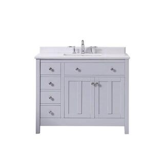 OVE Decors Newcastle 42 Dove Grey Undermount Single Sink Vanity with Marble Top - Dove Grey