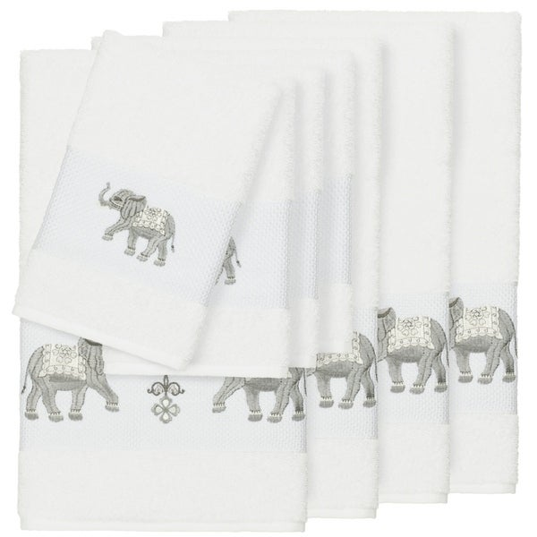 Authentic Hotel And Spa Turkish Cotton Elephants Embroidered White 8 Piece Towel Set