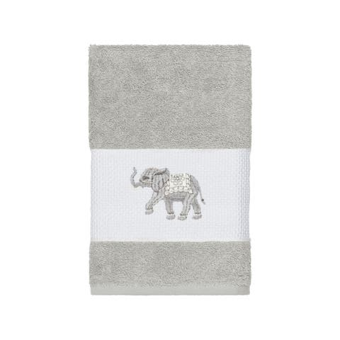 Authentic Hotel and Spa Turkish Cotton Elephants Embroidered Light Grey Hand Towel