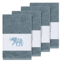 Authentic Hotel and Spa Turkish Cotton Elephants Embroidered Teal Blue 4-piece Hand Towel Set