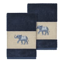 Authentic Hotel and Spa Turkish Cotton Elephants Embroidered Midnight Blue 2-piece Towel Hand Set