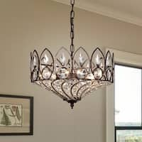 Fridrick Rustic Bronze 3-Light Pendant with Crystal Shade