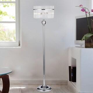 Brunella Chrome 3-Light Floor Lamp with Crystal Clear Shade