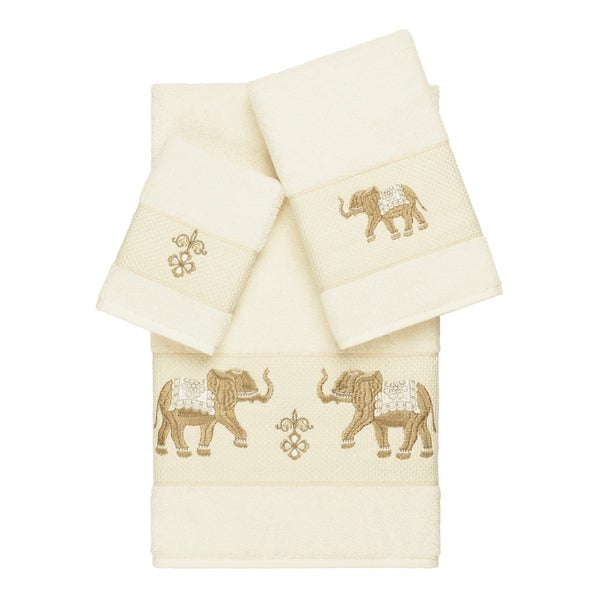 Authentic Hotel and Spa Turkish Cotton Elephants Embroidered Cream 3-piece Towel Set