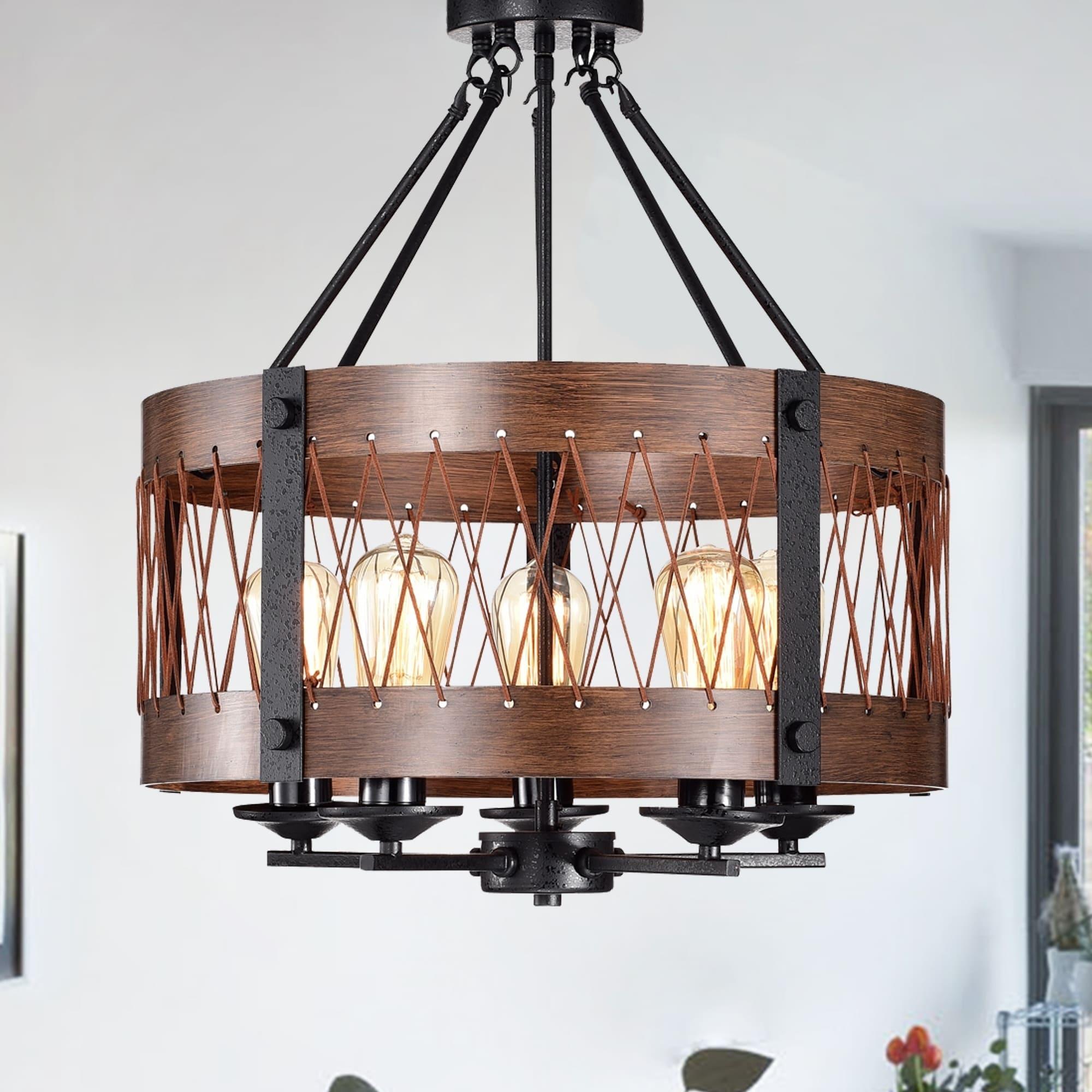 Adelina Rustic Wood 5 Light Pendant
