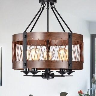 Adelina Rustic Wood 5-Light Pendant