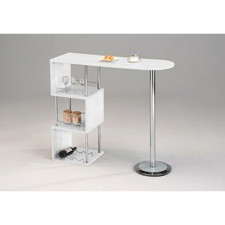 Link to White wood & Chrome Metal Bar Table Similar Items in Dining Room & Bar Furniture