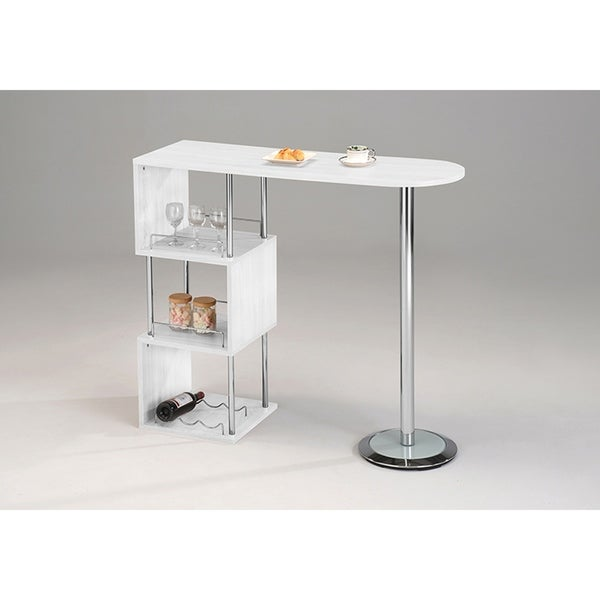 Shop White Wood & Chrome Metal Bar Table