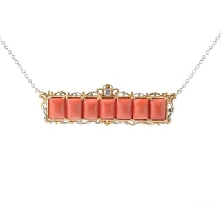 Michael Valitutti Palladium Silver Salmon Coral White Topaz Bar Necklace