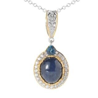 Michael Valitutti Palladium Silver Blue Star Sapphire and Multi Gemstone Halo Pendant