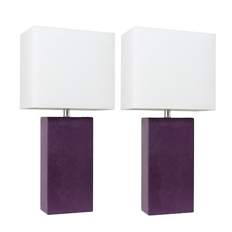 Porch & Den Fairway Eggplant Leather Table Lamps with White Fabric Shades (Set of 2)