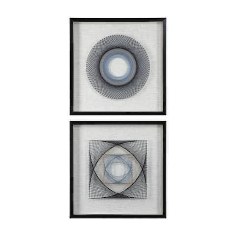 Uttermost String Duet Black Geometric Art (Set of 2) - Blue