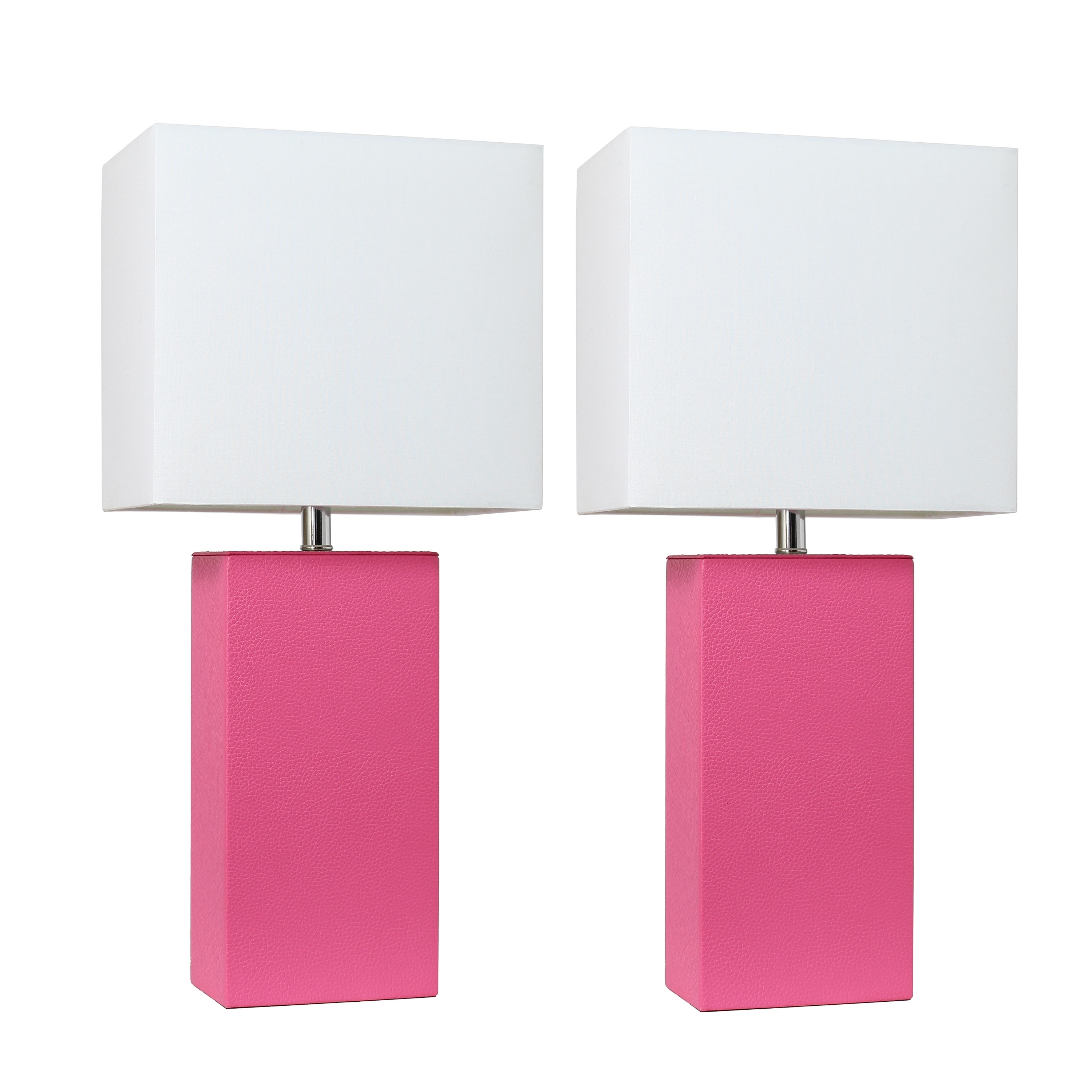 Porch Den Fairway Hot Pink Leather Table Lamps With White Fabric Shades Set Of 2 Overstock 21905701