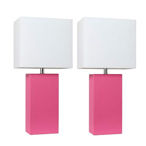Porch & Den Fairway Hot Pink Leather Table Lamps with White Fabric Shades (Set of 2)