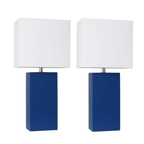 Porch & Den Fairway Blue Leather Table Lamps with White Fabric Shades (Set of 2)