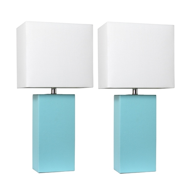 Elegant Designs 2 Pack Modern Leather Table Lamps with White Fabric Shades, Aqua